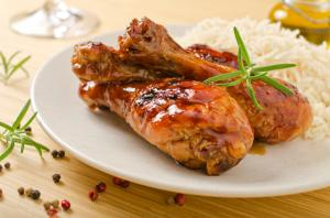 Glazed chicken drumsticks