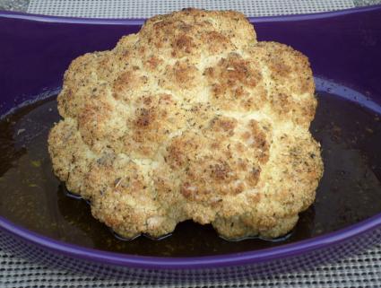 Whole oven-roasted cauliflower