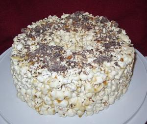 caramel pretzel popcorn cake