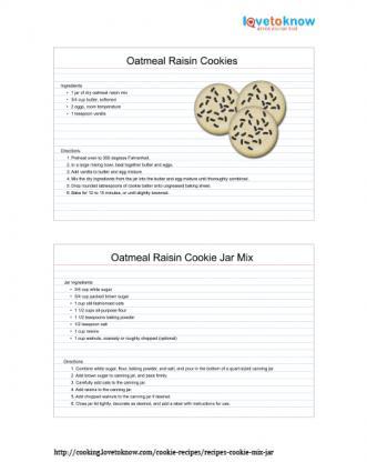 Printable oatmeal raisin cookies in a jar recipe