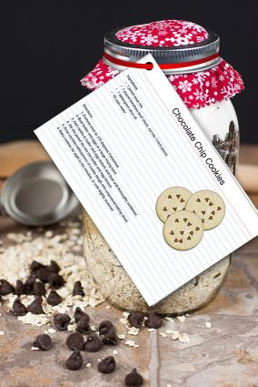 Cookie jar mix with recipe card