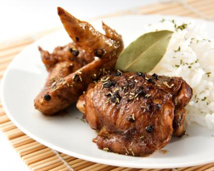 Image of chicken adobo on a plate