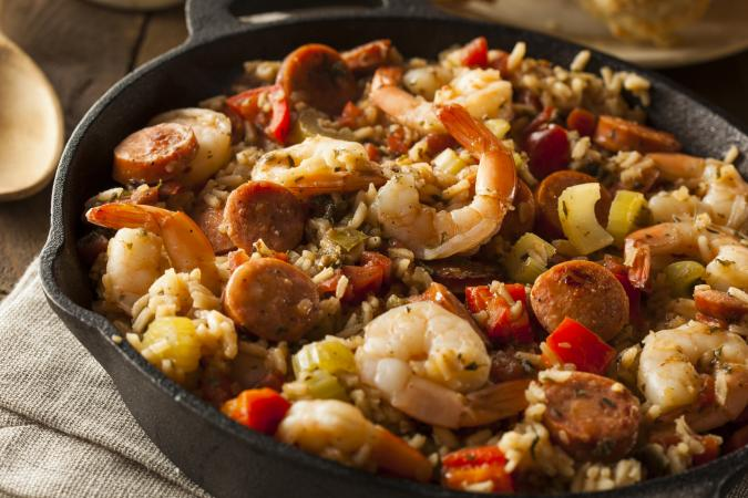 Skillet sausage and shrimp jambalaya