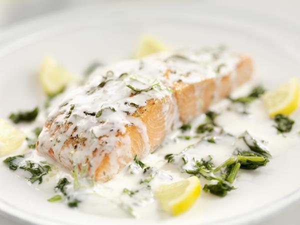 Creamy garlic sauce over salmon