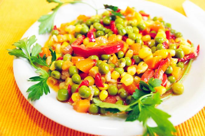 Corn, green peas and carrots