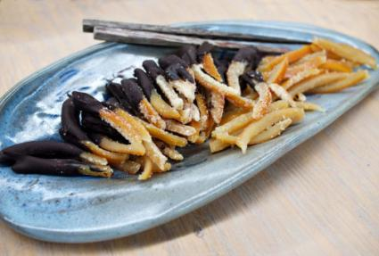 Candied orange peels dipped in chocolate