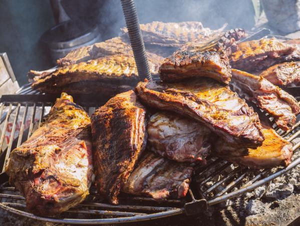 Pork ribs on a circular grill