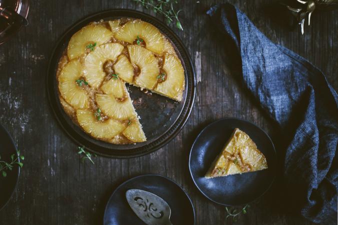 Pineapple upsidedown cake on wooden table