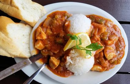 Chicken Creole served with white rice