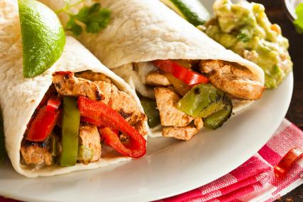 Chicken fajitas made with leftover chicken