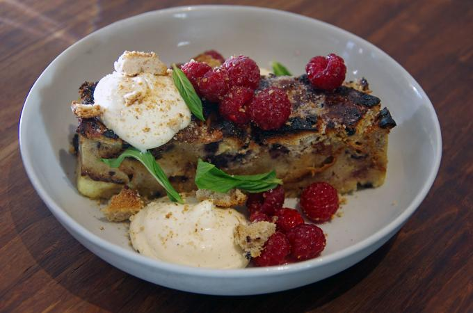 spiced bread pudding with raspberries