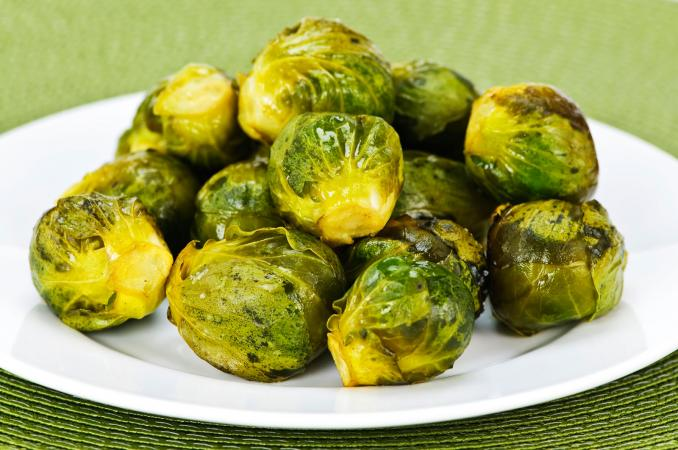 plate of roasted Brussels sprouts