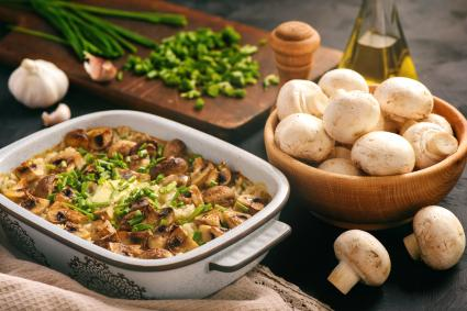 Rice casserole with mushrooms