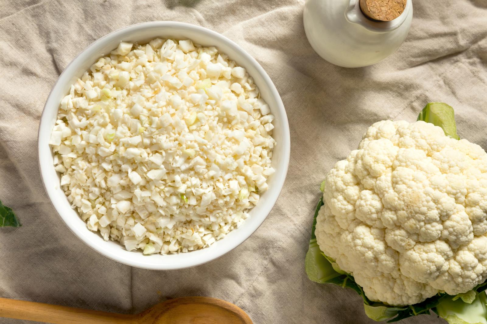 Homemade Organic Raw Cauliflower Rice