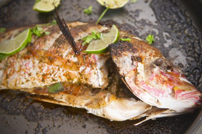 Baked and stuffed red snapper