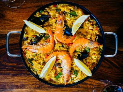 Fresh paella in pan