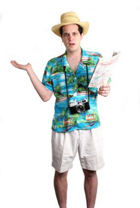 man dressed as tourist