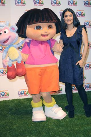 Dora the Explorer character with Salma Hayek; copyright Sbukley | Dreamstime.com