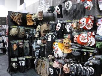 Mask display at Spirit Halloween Store