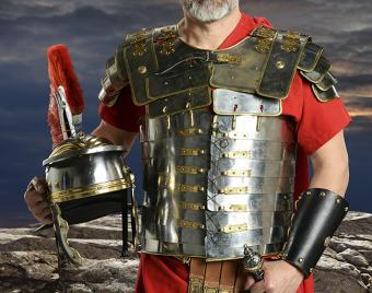 Roman soldier in metal Body armor