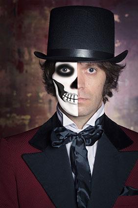 Modified image of a man wearing half skeleton makeup