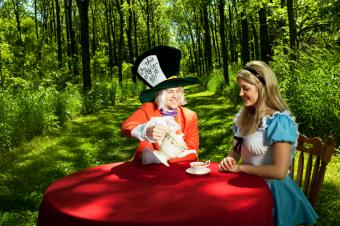 Mad Hatter and Alice in costume