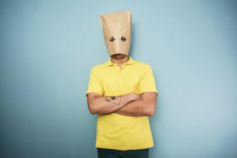 Man with bag over head