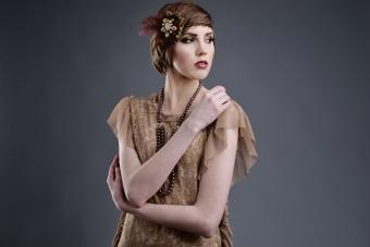 Woman in vintage 20s style clothing