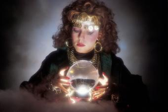Woman in fortune teller costume