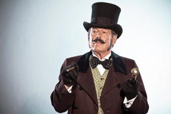 Vintage dickens style man with mustache and hat