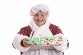 Mrs Claus offering cookies