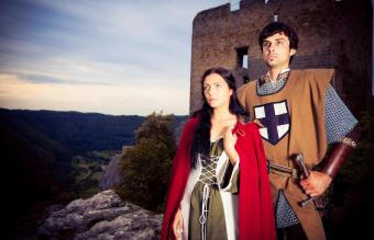couple in medieval-style clothes