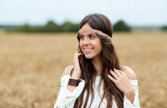 hippie woman on cereal field