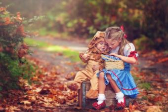 Children dressed up in halloween costumes Wonderful Wizard of Oz