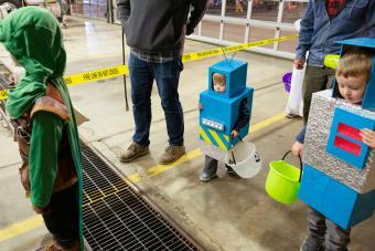 Children in robot costumes for Halloween