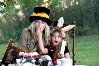 Alice in Wonderland costume female Mad Hatter and Child as March Hare