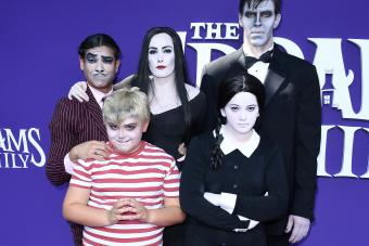 Family with Addams Family Costume