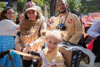 Family in Ghostbusters costumes