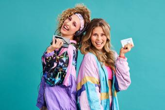 young women styled in 80s clothing