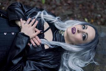 Woman in vampire costume