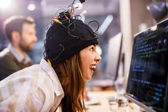 Crazy female programmer