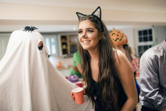 Girl dressed as a cat in a Halloween party