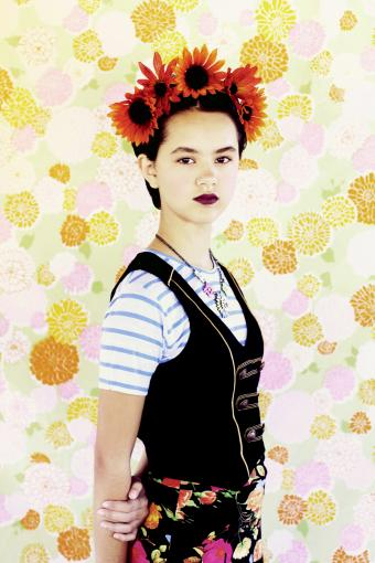 Girl dressed as Frida Kahlo