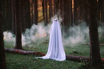 Woman Wearing Ghost Costume In Forest