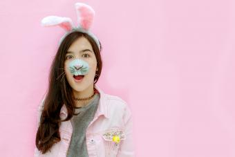 Bunny girl in pink background