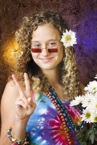 Hippie Teenage Girl Wearing 1960s Psychedelic Style