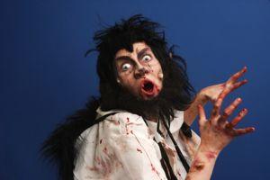 Man in bloody werewolf costume