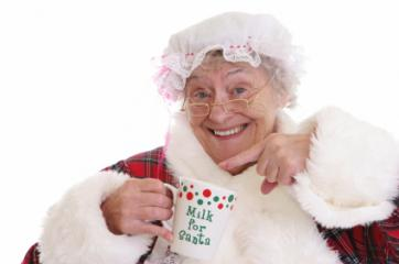 mob cap on Mrs. Claus