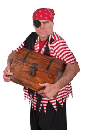 scalawag with treasure chest