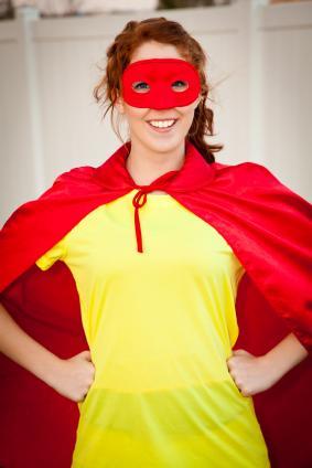 Teen dressed as superhero